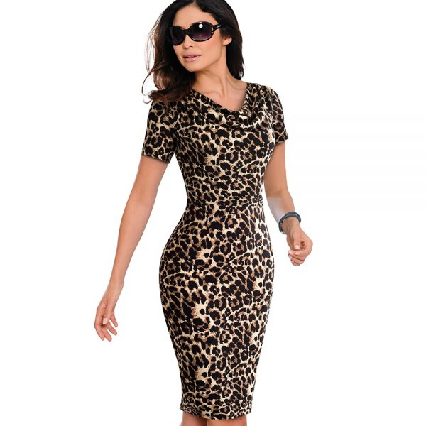 8c0458323c00 Dress ~ Women Summer Vintage Leopard Party Office Dress Sexy Short Sleeve  Body-con Casual