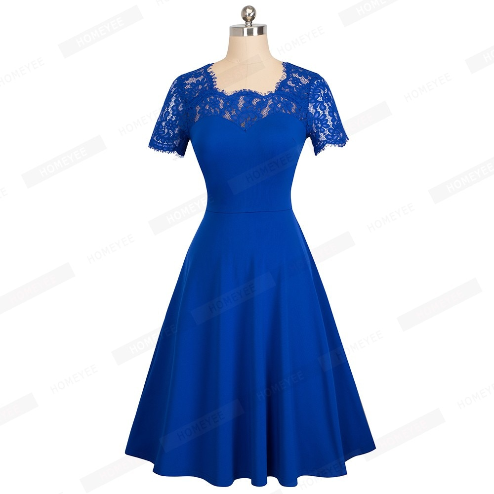 c544884adff1 ... Female Vintage Floral Lace Solid Color Casual Business Office Dress  Elegant O-Neck Summer Swing ...